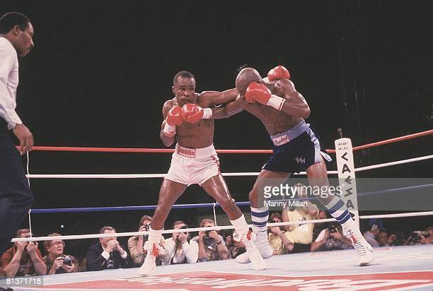 Boxing WBC Middleweight Title Sugar Ray Leonard in action vs Marvin Hagler at Caesars Palace Las Vegas NV 4/6/1987