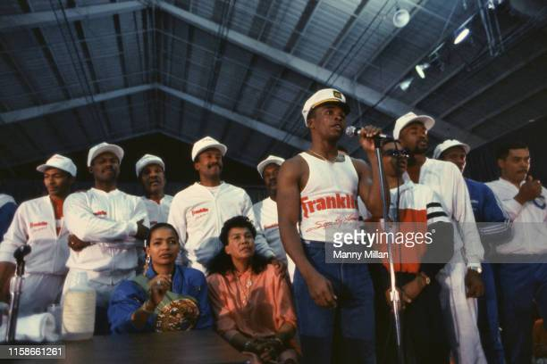 WBC Middleweight Title Sugar Ray Leonard with team and family during press interview after fight vs Marvin Hagler at Caesars Palace Leonard's wife...
