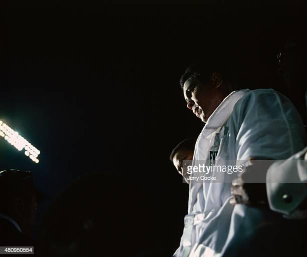 WBC/ WBA Heavyweight Title Muhammad Ali entering ring before fight vs Ken Norton at Yankee Stadium Bronx NY CREDIT Jerry Cooke