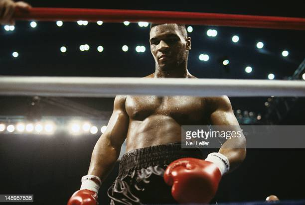 WBC/ WBA/ IBF Heavyweight Title Mike Tyson in ring during fight vs Larry Holmes at Boardwalk Convention Hall Atlantic City NJ CREDIT Neil Leifer