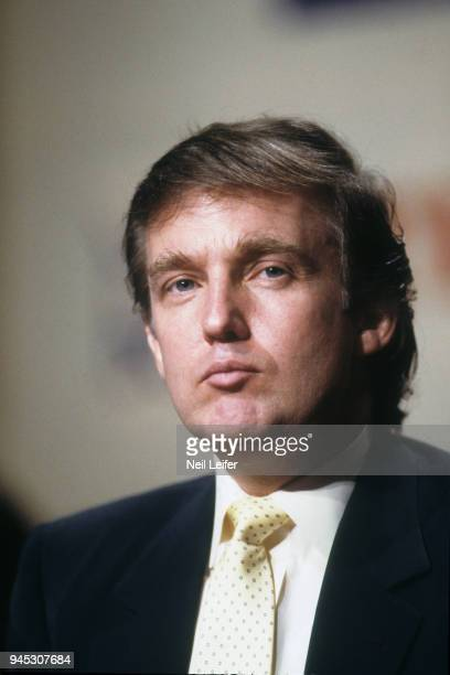 WBC/ WBA/ IBF Heavyweight Title Preview Closeup of celebrity businessman Donald Trump on podium during media press conference before Mike Tyson vs...