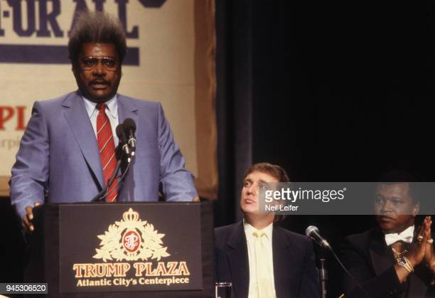WBC/ WBA/ IBF Heavyweight Title Preview View of promoter Don King speaking during media press conference before Mike Tyson vs Michael Spinks fight as...