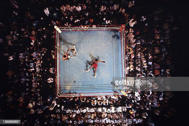 Boxing WBC/ WBA World Heavyweight Title Aerial view of George Foreman on canvas after round 8 knockout by Muhammad Ali at Stade du 20 Mai View of...