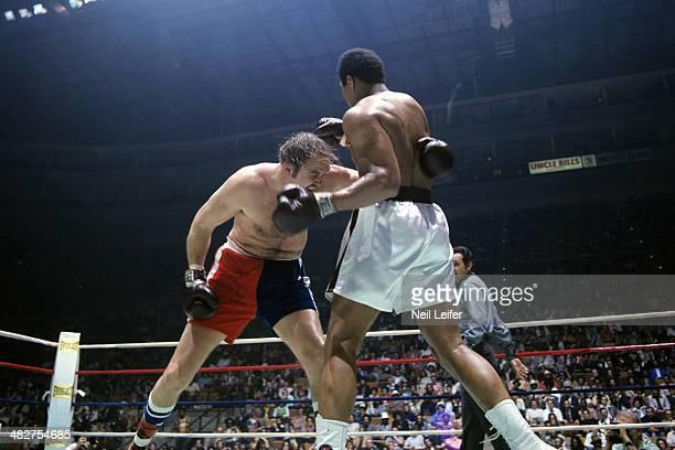 WBC/ WBA World Heavyweight Title Chuck Wepner in action vs Muhammad Ali during fight at Richfield Coliseum Richfield OH CREDIT Neil Leifer