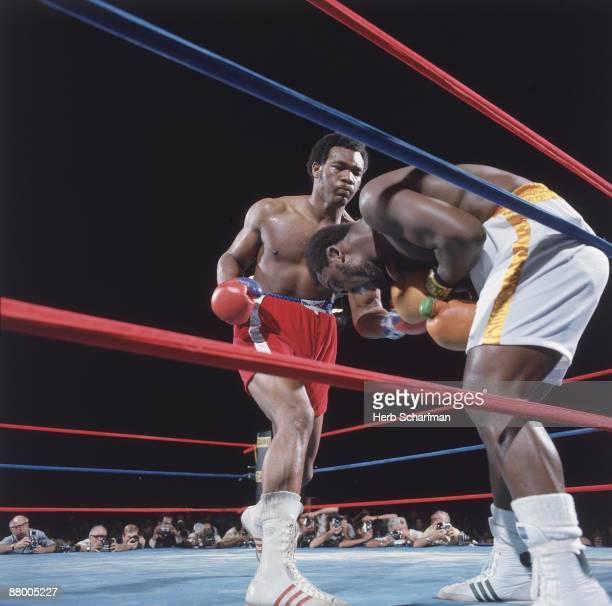 WBC/ WBA World Heavyweight Title George Foreman in action vs Joe Frazier at National Stadium Kingston Jamaica 1/22/1973 CREDIT Herb Scharfman