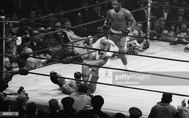 WBC/ WBA World Heavyweight Title Joe Frazier after 15th round knock down of Muhammad Ali at Madison Square Garden New York NY 3/8/1971 CREDIT Herb...