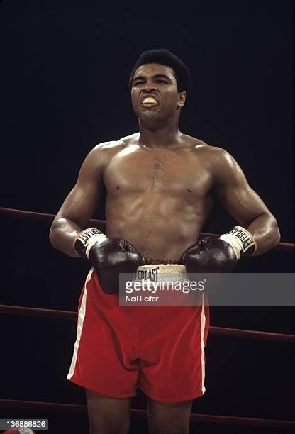 Boxing WBC/ WBA World Heavyweight Title Muhammad Ali during fight vs Joe Frazier at Madison Square Garden New York NY 3/8/1971 CREDIT Neil Leifer