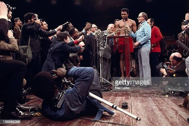 Boxing WBC/ WBA World Heavyweight Title Muhammad Ali during weighin before fight vs Joe Frazier at Felt Forum in Madison Square Garden New York NY...