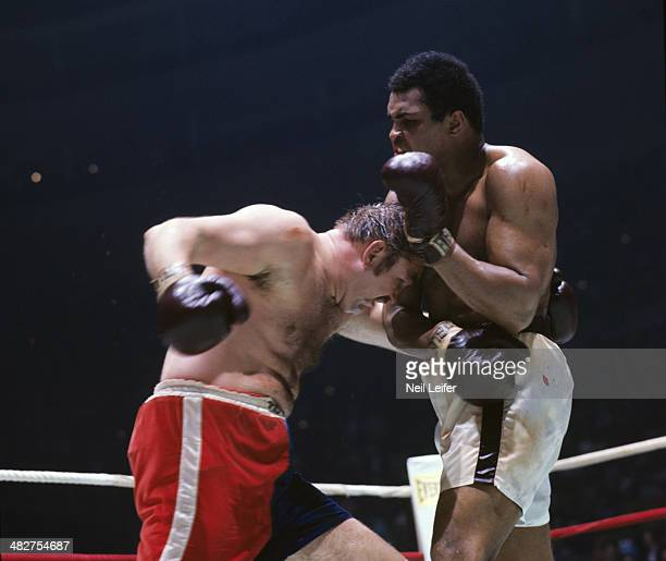 WBC/ WBA World Heavyweight Title Muhammad Ali in action vs Chuck Wepner during fight at Richfield Coliseum Richfield OH CREDIT Neil Leifer