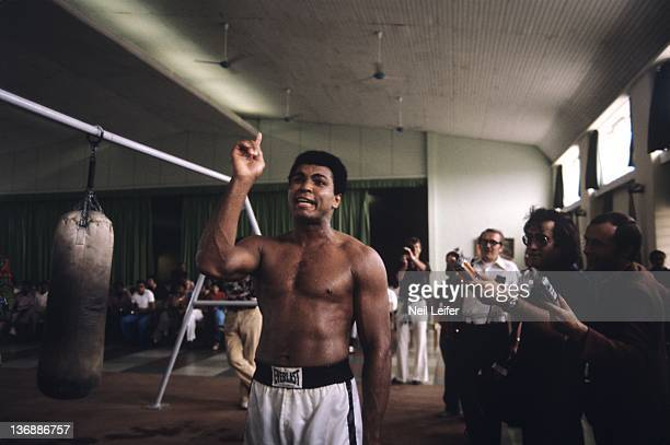 Boxing: WBC/ WBA World Heavyweight Title Preview: Muhammad Ali training before fight vs George Foreman at the Salle de Congres in the presidential...