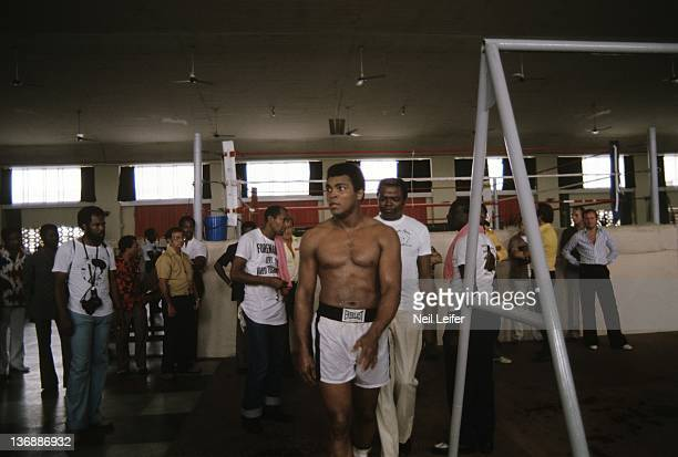 Boxing WBC/ WBA World Heavyweight Title Preview Muhammad Ali training before fight vs George Foreman at the Salle de Congres in the presidential...