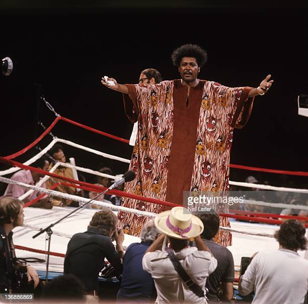 Boxing WBC/ WBA World Heavyweight Title View of promoter Don King wearing dashiki while stainding in ring before weighin before fight between...