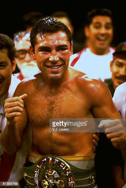 Boxing WBC Welterweight Title Closeup of Oscar De La Hoya victorious with belt after winning fight vs Julio Ceasar Chavez at Thomas Mack Center Las...