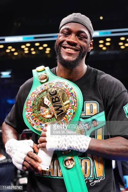 WBC World Heavyweight Title Deontay Wilder victorious with belt after fight vs Dominic Breazeale at the Barclays Center Wilder won by KO in the first...