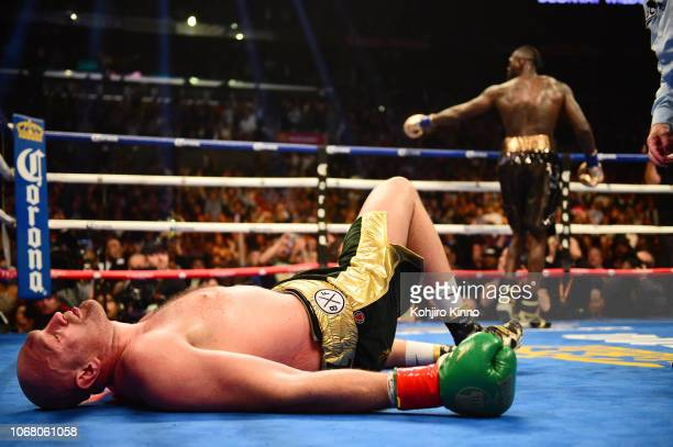 WBC World Heavyweight Title Tyson Fury in action on the canvas vs Deontay Wilder at the Staples Center Los Angeles CA CREDIT Kohjiro Kinno
