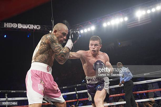 WBC World Middleweight Title Canelo Alvarez in action vs Miguel Cotto at Mandalay Bay Events Center Las Vegas NV CREDIT Carlos M Saavedra
