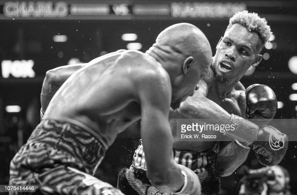 WBC World Welterweight Title Fight Closeup of Jermell Charlo in action vs Tony Harrison during bout at Barclays Center Brooklyn NY CREDIT Erick W...