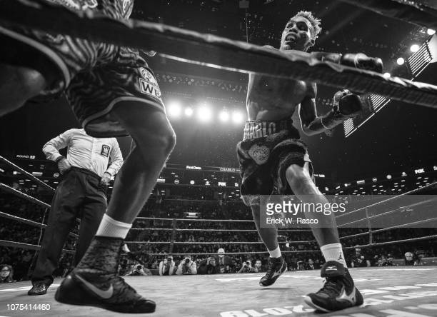 WBC World Welterweight Title Fight Jermell Charlo in action vs Tony Harrison during bout at Barclays Center Brooklyn NY CREDIT Erick W Rasco