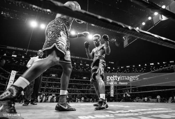 WBC World Welterweight Title Fight Tony Harrison in action vs Jermell Charlo during bout at Barclays Center Brooklyn NY CREDIT Erick W Rasco