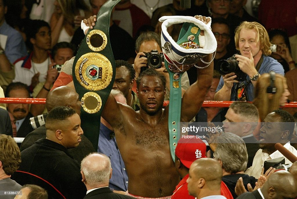 WBC/IBO Heavyweight Title, Lennox Lewis victorious with belt after winning fight vs Vitali Klitschko at Staples Center, Los Angeles, CA 6/21/2003