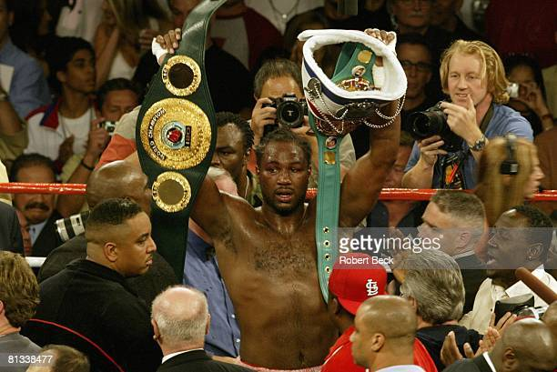 Boxing WBC/IBO Heavyweight Title Lennox Lewis victorious with belt after winning fight vs Vitali Klitschko at Staples Center Los Angeles CA 6/21/2003