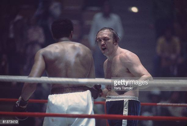 Boxing WBC/WBA Heavyweight Title Chuck Wepner in action vs Muhammad Ali at Richfield Coliseum Richfield OH 3/24/1975