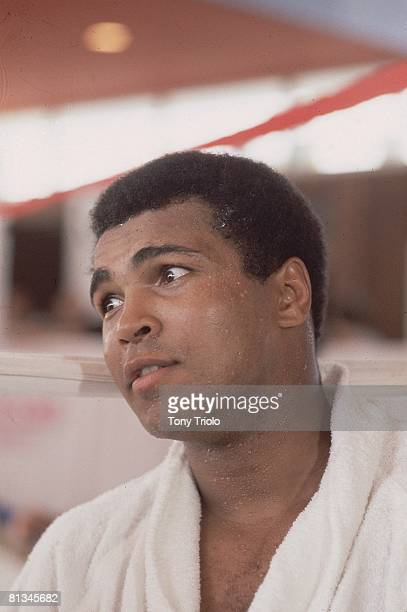 Boxing WBC/WBA Heavyweight Title Closeup portrait of Muhammad Ali before fight vs Ken Norton New York NY 9/13/1976