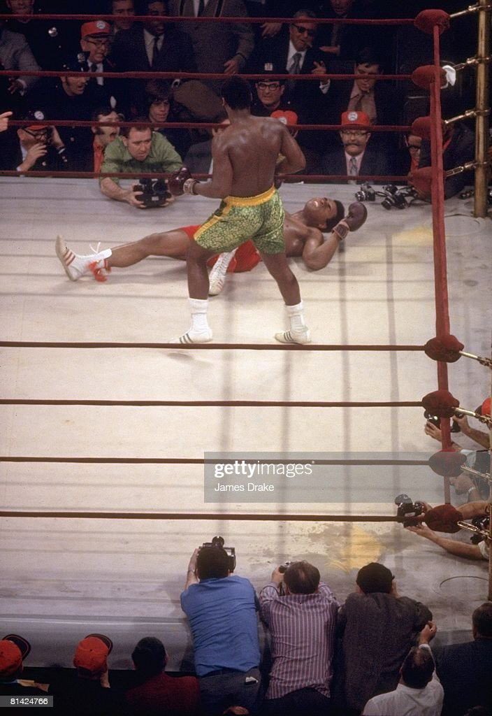WBC/WBA Heavyweight Title, Joe Frazier after 15th round knock out vs Muhammad Ali at Madison Square Garden, New York, NY 3/8/1971