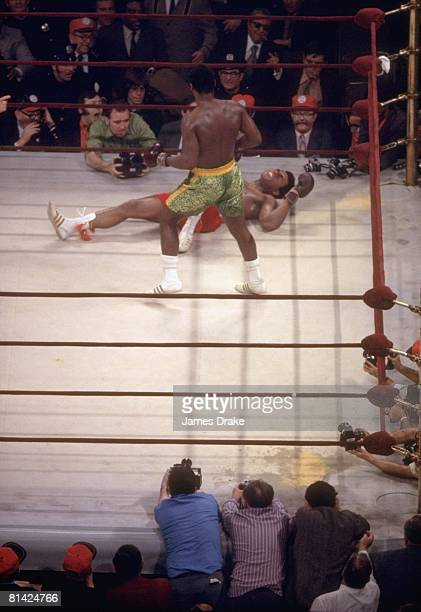 Boxing WBC/WBA Heavyweight Title Joe Frazier after 15th round knock out vs Muhammad Ali at Madison Square Garden New York NY 3/8/1971