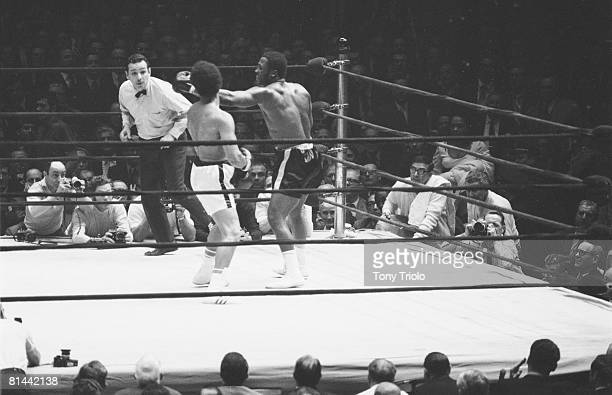 Boxing WBC/WBA Heavyweight Title Joe Frazier in action throwing punch vs Jimmy Ellis at Madison Square Garden New York NY 2/16/1970