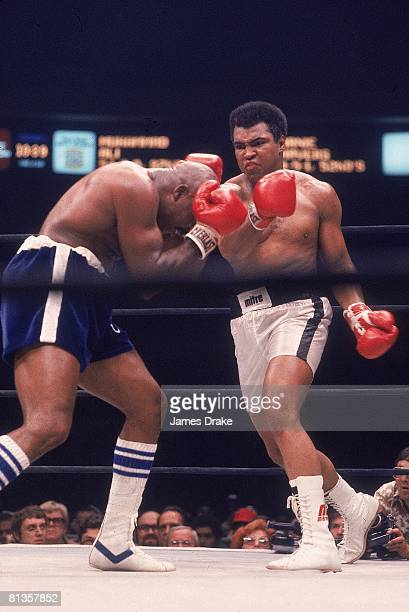 Boxing WBC/WBA Heavyweight Title Muhammad Ali in action throwing punch vs Earnie Shavers at Madison Square Garden New York NY 9/29/1977