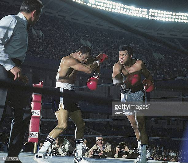 Boxing WBC/WBA Heavyweight Title Muhammad Ali in action throwing punch vs Ken Norton at Yankee Stadium Bronx NY 9/28/1976