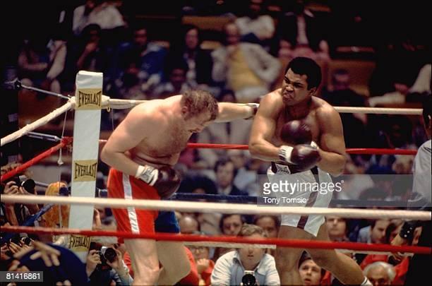 Boxing WBC/WBA Heavyweight Title Muhammad Ali in action vs Chuck Wepner at Richfield Coliseum Richfield OH 3/24/1975