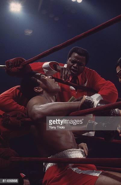 Boxing WBC/WBA Heavyweight Title Muhammad Ali in corner with trainer Bundini Brown during match vs Joe Frazier at Madison Square Garden New York NY...