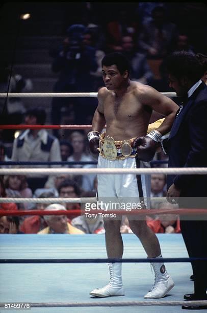 Boxing WBC/WBA Heavyweight Title Muhammad Ali victorious with championship belt after fight vs Chuck Wepner at Richfield Coliseum Richfield OH...