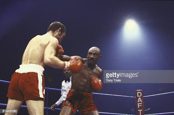 Boxing WBC/WBA Middleweight Title Marvin Hagler in action throwing punch vs Alan Minter at Wembley Arena London England 9/27/1980