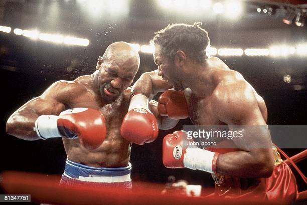 Boxing: WBC/WBA/IBF Heavyweight Title, Closeup of Lennox Lewis in action, throwing punch vs Evander Holyfield at Madison Square Garden, New York, NY...