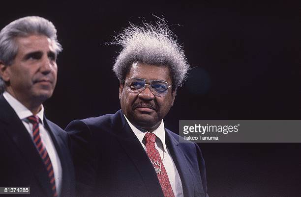 Boxing WBC/WBA/IBF Heavyweight Title Closeup of promoter Don King before James Buster Douglas vs Mike Tyson fight at Tokyo Dome Tokyo Japan 2/11/1990