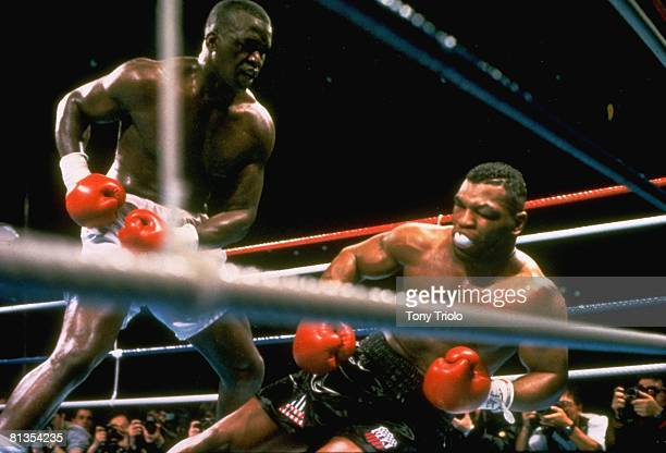 Boxing WBC/WBA/IBF Heavyweight Title James Buster Douglas in action knocking out Mike Tyson at Tokyo Dome Tokyo JPN 2/11/1990
