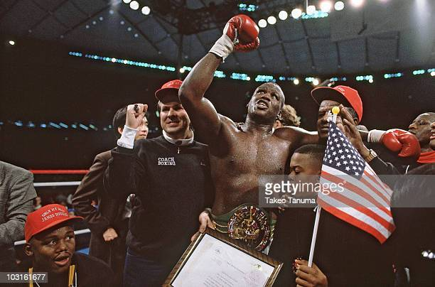 WBC/WBA/IBF Heavyweight Title James Buster Douglas victorious after winning fight vs Mike Tyson at Tokyo Dome Tokyo Japan 2/11/1990 CREDIT Takeo...