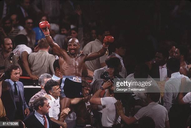 Boxing: WBC/WBA/IBF Middleweight Title, Marvin Hagler victorious after winning fight vs Thomas Hearns at Caesars Palace, Las Vegas, NV 4/15/1985