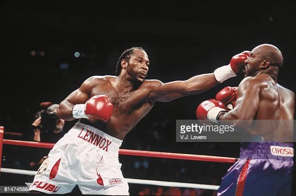 Boxing: WBC/WBA/IBF/IBO Heavyweight Title, Closeup of Lennox Lewis in action vs Evander Holyfield at Thomas & Mack Center, Las Vegas, NV
