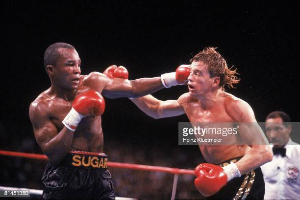 Boxing: WBC/WBO Super Middleweight Title, Sugar Ray Leonard in action vs Donny Lalonde at Caesars Palace, Las Vegas, NV 11/7/1988