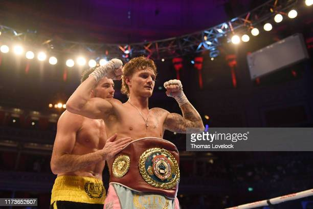 WBO European Super Featherweight Title Archie Sharp victorious with belt after defeating Declan Geraghty during Super Featherweight title bout at...