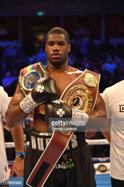 WBO International Heavyweight Title Daniel Dubois victorious with belts after winning fight vs Ebenezer Tetteh for Commonwealth Heavyweight title at...