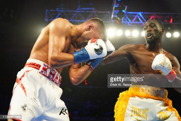 WBO Welterweight Title Closeup of Terence Crawford in action during fight vs Amir Khan at Madison Square Garden New York NY CREDIT Erick W Rasco