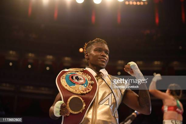 WBO Women's Flyweight Title Closeup of Nicola Adams victorious with belt after winning vs Maria Salinas during Women's Flyweight title bout at Royal...