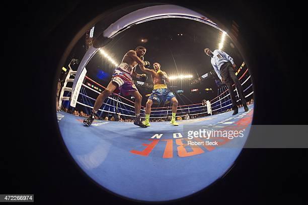 WBO World Featherweight Title Fisheye view of Vasyl Lomachenko in action vs Gamalier Rodriguez at MGM Grand Garden Arena Las Vegas NV CREDIT Robert...