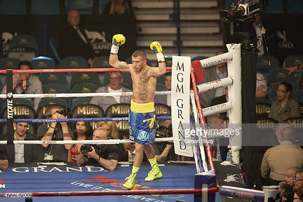 WBO World Featherweight Title Vasyl Lomachenko victorious in ring after winning fight vs Gamalier Rodriguez at MGM Grand Garden Arena Las Vegas NV...