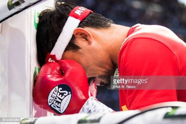 WBO World Welterweight Title Closeup of Manny Pacquiao in prayer his corner before bout vs Jeff Horn at Suncorp Stadium Brisbane Australia 7/2/2017...